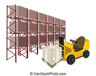 scatola, caricamento, forklift, spedizione marittima, camion, magazzino