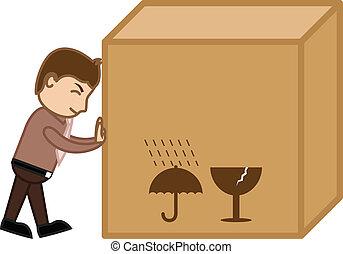 scatola, carico, grande, spinta, vettore, uomo