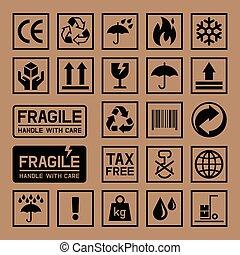 scatola, cartone, cartone, icons.