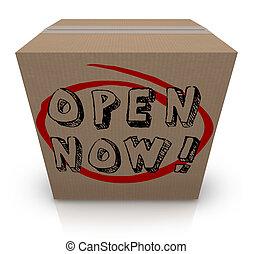 scatola, cartone, richiesto, immediato, azione, ora, aperto, urgenza