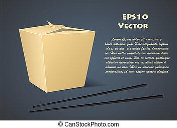 scatola, cibo, sfondo bianco, cinese