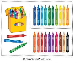 scatola, colori, 20, pastelli