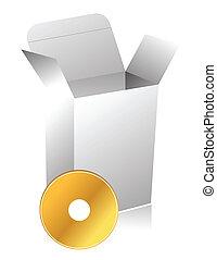 scatola, compact disc, 3d, vuoto