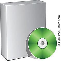 scatola, compatto, vettore, disco, 3d
