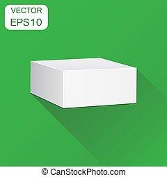 scatola, concetto, affari, mockup, illustrazione, pacchetto, lungo, vettore, verde, pictogram., fondo, vuoto, bianco, cartone, shadow., icon., 3d