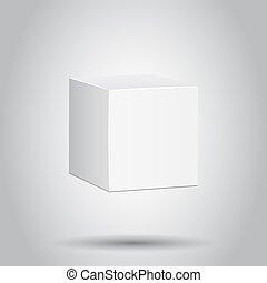 scatola, concetto, affari, mockup, pacchetto, isolato, illustrazione, fondo., vettore, pictogram., vuoto, bianco, cartone, icon., 3d