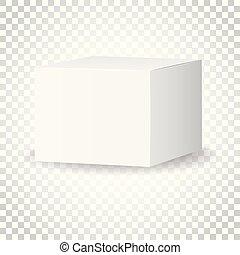 scatola, concetto, illustration., affari, pacchetto, semplice, mockup, isolato, fondo., vettore, vuoto, 3d, bianco, cartone, icon., pictogram