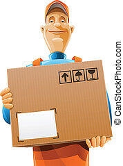 scatola consegna, servizio, uomo