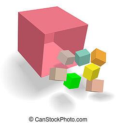 scatola, cubi, blocchi, cubico, astratto, cornucopia, cadere, 3d