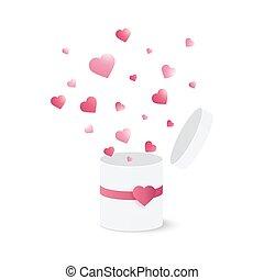scatola, cuore, regalo, burst., coriandoli, aperto
