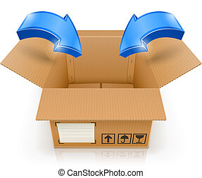 scatola, dentro, aperto, freccia