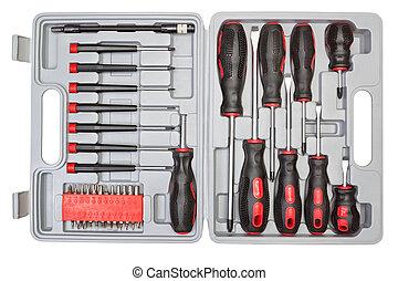 scatola, differente, set, attrezzi, mechanics.