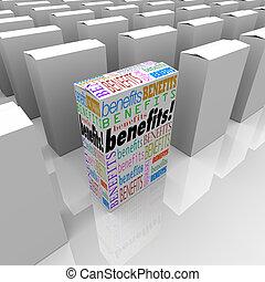 scatola, differente, unico, benefici, molti, scelte, uno