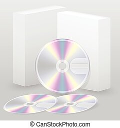 scatola, dischi, due, vuoto