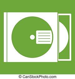 scatola, disco, verde, icona, cd
