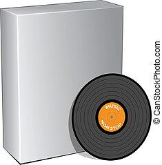 scatola, disco, vettore, vinile, 3d