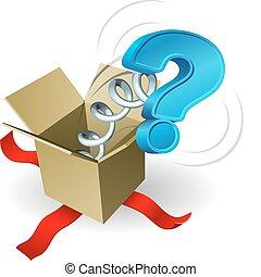 scatola, domanda, conce, cricco, marchio