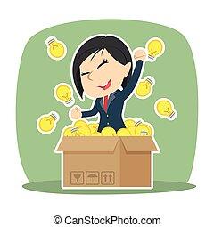 scatola, donna d'affari, idee, lei, fuori