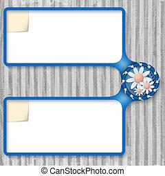 scatola, doppio, fiori, entrare, testo