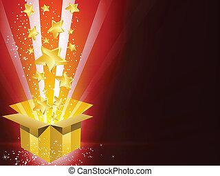 scatola, dorato, stelle, regalo, natale