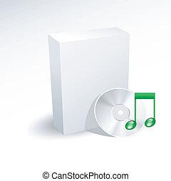 scatola, dvd, disco cd, musica, vuoto