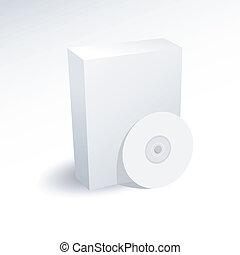 scatola, dvd, disco cd, vuoto