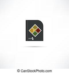 scatola, dvd, icona