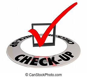 scatola, esame, illustrazione, marchio, check-up, prova, fisico, valutazione, 3d