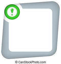 scatola, esclamazione, testo, astratto, marchio, verde, entrare