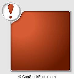 scatola, esclamazione, testo, marchio, rosso, qualsiasi, argento