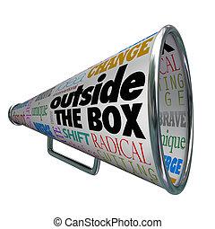 scatola, esterno, bullhorn, innovazione, megafono, cambiamento