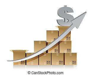 scatola, finanziario, dollaro, grafico