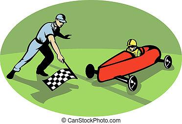 scatola, fine, flag., vincente, ondeggiare, checkered, derby, linea, da corsa, sapone, uomo