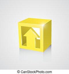 scatola, freccia, giallo