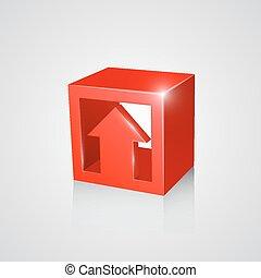 scatola, freccia, rosso