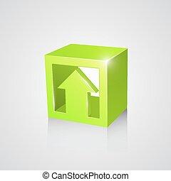 scatola, freccia, verde