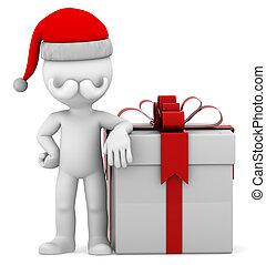 scatola, grande presente, santa, 3d