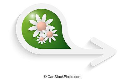scatola, grigio, testo, tre, freccia, fiori