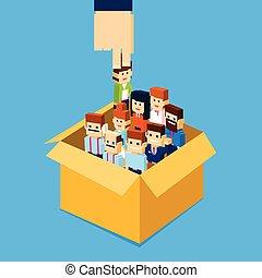 scatola, gruppo, candidato, folla, persone, reclutamento, mano, persona affari, umano, scegliere, risorse