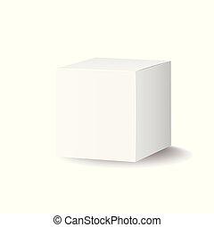 scatola, illustration., mockup, pacchetto, vettore, vuoto, bianco, cartone, icon., 3d