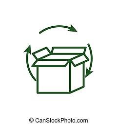 scatola, intorno, vettore, segno, disegno, isolato, riciclare