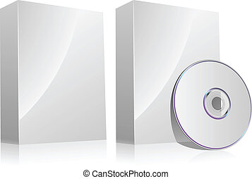 scatola, isolato, senza, disco, white., vuoto, software