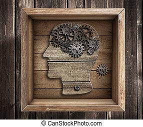 scatola, lavoro, pensare, concept., cervello, esterno, creativity.
