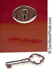 scatola, legno, buco serratura, chiave