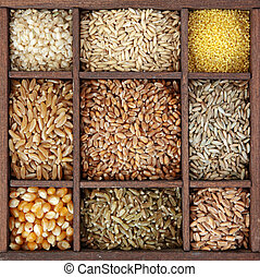 scatola legno, cereali