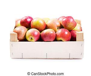 scatola legno, mele, rosso
