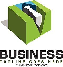 scatola, logotipo, 3d, assunzione personale, cravatta