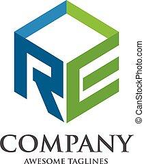scatola, logotipo, re