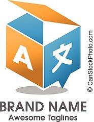 scatola, logotipo, tradurre