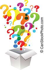 scatola, marchio, domanda, icone
